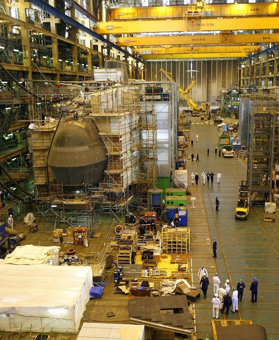 Construction work on Royal Navy submarines continues at the BAE shipyard in Barrow-in-Furness, Cumbria (Peter Byrne/PA) (PA Archive)
