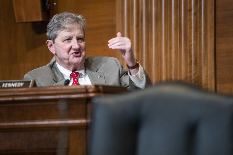 Sen. John Kennedy, R-La., questions Treasury Secretary Janet Yellen during a Senate Appropriations Subcommittee hearing to examine the FY 2022 budget request for the Treasury Department, Wednesday, June 23, 2021, on Capitol Hill in Washington. (Shawn Thew/Pool via AP)