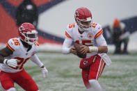 Kansas City Chiefs quarterback Patrick Mahomes, right, drops back alongside running back Le'Veon Bell during the first half of an NFL football game against the Denver Broncos, Sunday, Oct. 25, 2020, in Denver. (AP Photo/Jack Dempsey)