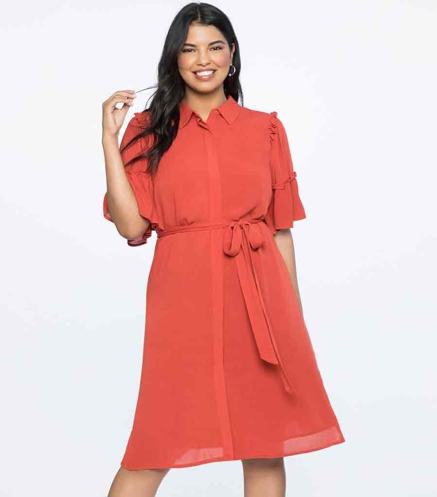 Have you heard red is in? Available in sizes 14 to 28.