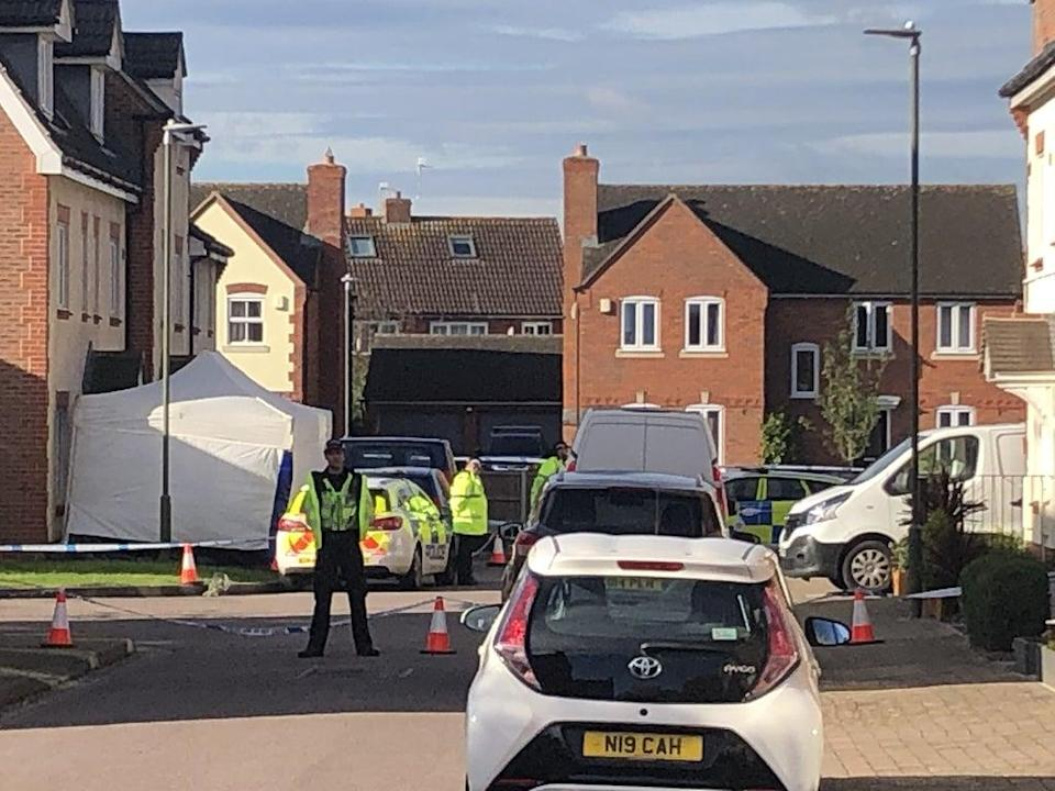Policed activity in Snowdonia Road, Walton Cardiff, near Tewkesbury, after one man was stabbed to death and two other people were injured (Rod Minchin/PA) (PA Wire)
