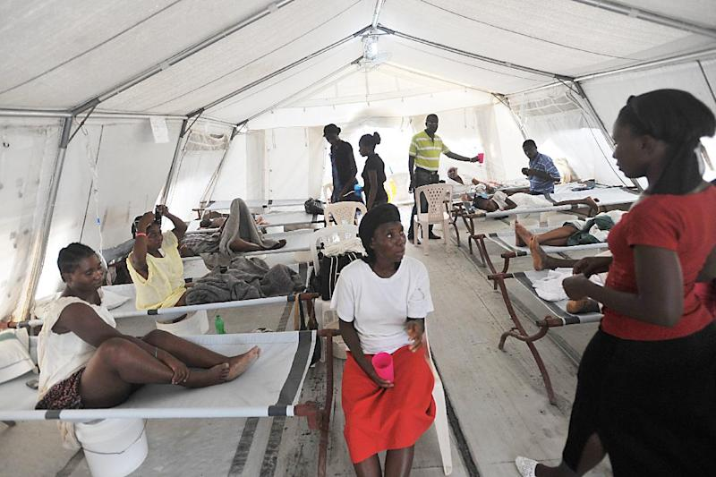 File photo of cholera patients being treated at a MSF (Médecins Sans Frontière) clinic in Delmas, Haiti