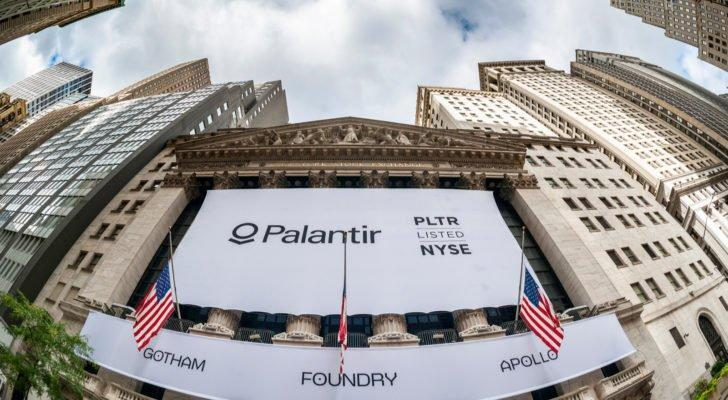 A banner for Palantir (PLTR) hangs on the New York Stock Exchange.
