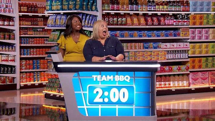 "Contestants Angela Brown, left, and Yolanda Bowles in the 2020 version of ""Supermarket Sweep"" on ABC. <span class=""copyright"">(ABC / Fremantle)</span>"