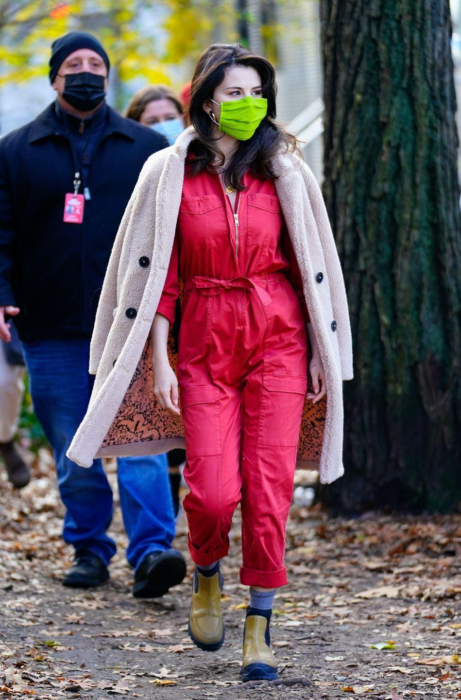 <p>Filming her new Hulu TV series, <em>Only Murders in the Building</em>, in New York City.<br></p>