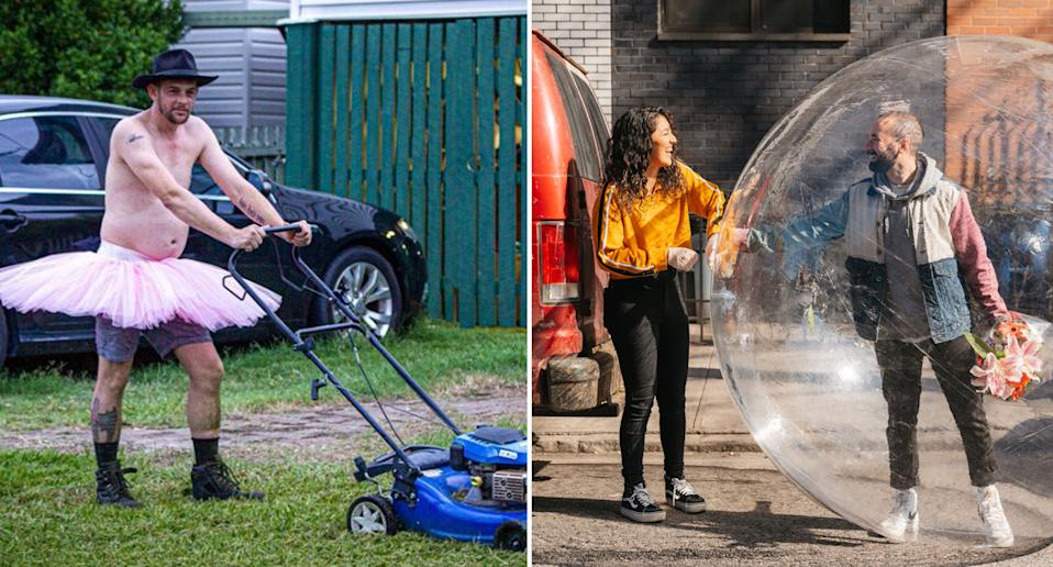 A man mowing his lawn in a tutu (left) and a New York couple on a date, with one in a bubble to social distance (right).