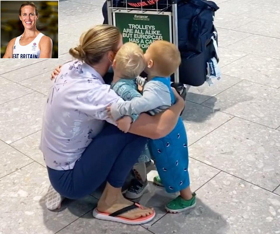 British Rower Helen Glover Receives Emotional Welcome Home from 3 Children After Tokyo Games