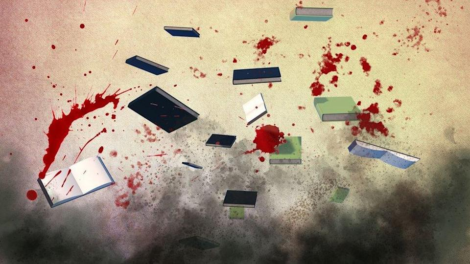 Artistic image of the attack upon the Kabul university
