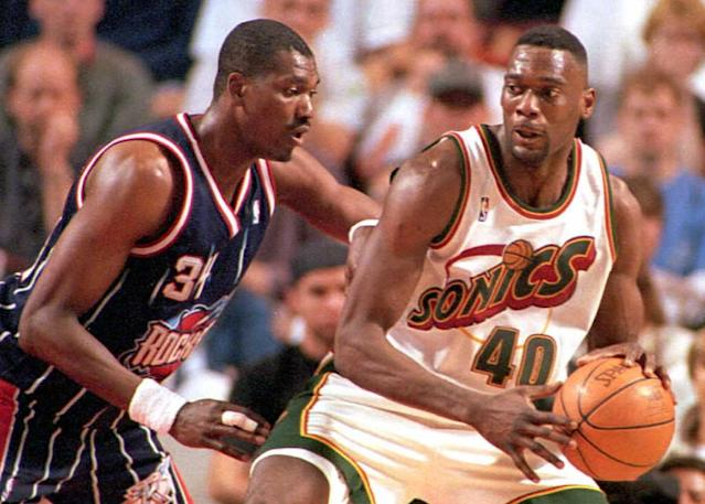 Shawn Kemp was something else with he Sonics. (Photo credit should read Pete LEVINE/AFP via Getty Images)