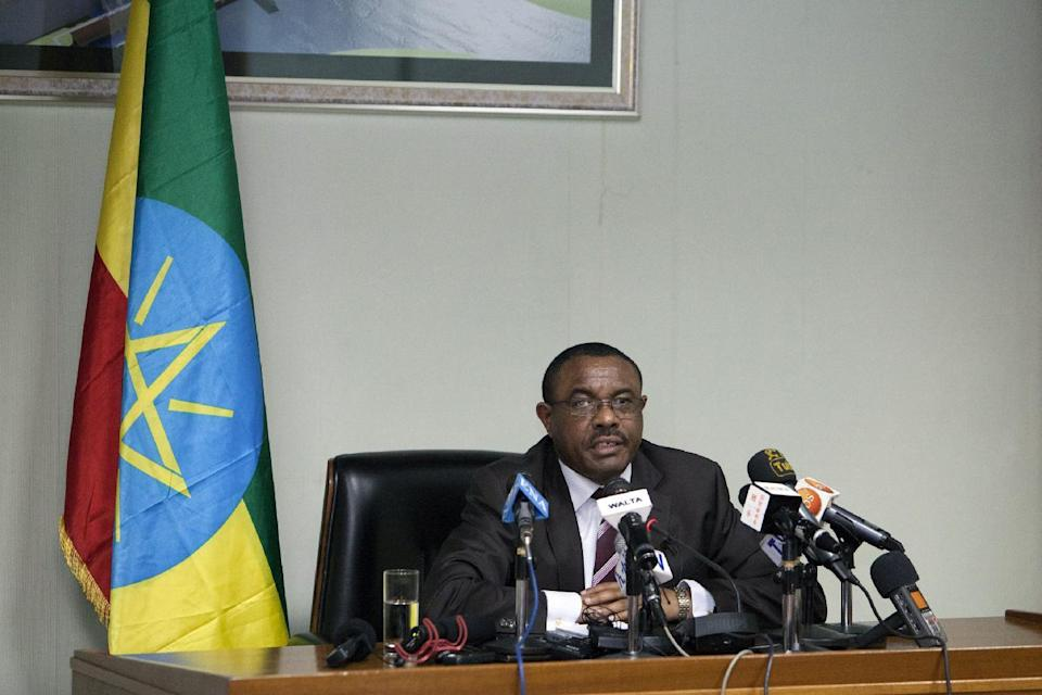 Prime Minister of Ethiopia Hailemariam Desalegn speaks during a press conference in Addis Ababa, Ethiopia, on July 18, 2014 (AFP Photo/Zacharias Abubeker)
