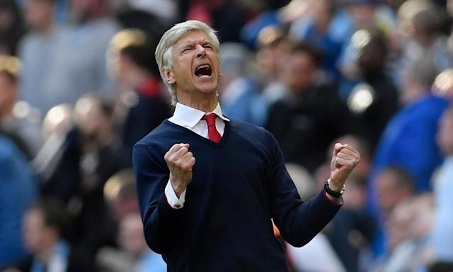 """<span class=""""element-image__caption"""">Arsène Wenger reacts to the final whistle at Wembley and confirmation of Arsenal's place in the FA Cup final.</span> <span class=""""element-image__credit"""">Photograph: Toby Melville/Reuters</span>"""