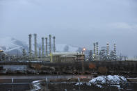 """FILE - This Jan. 15, 2011 file photo shows Arak heavy water nuclear facilities, near the central city of Arak, 150 miles (250 kilometers) southwest of the capital Tehran, Iran. In a statement after a virtual meeting on Friday, April 2, 2021, the chair of a group of high-level officials from the European Union, China, France, Germany, Russia, Britain and Iran said the participants """"emphasized their commitment to preserve the JCPOA and discussed modalities to ensure the return to its full and effective implementation."""" (AP Photo/ISNA, Hamid Foroutan, File)"""