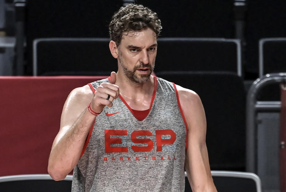 Spain's Pau Gasol gestures during a basketball training session at the Saitama Super Arena in Saitama, Japan, on July 22, 2021, ahead of the Tokyo 2020 Olympic Games. (Photo by ARIS MESSINIS / AFP) (Photo by ARIS MESSINIS/AFP via Getty Images)