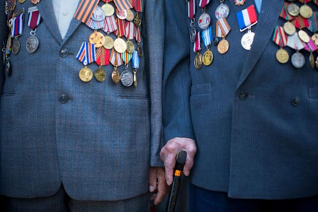<p>Russian-Israeli World War II veterans gather for a street parade marking Victory Day, in Ashdod, Israel, Monday, May 8, 2017. Israeli World War II veterans from the former Soviet Union marched together with their families across the country Monday to celebrate the 72nd anniversary of the allied victory over Nazi Germany in 1945. (AP Photo/Oded Balilty) </p>