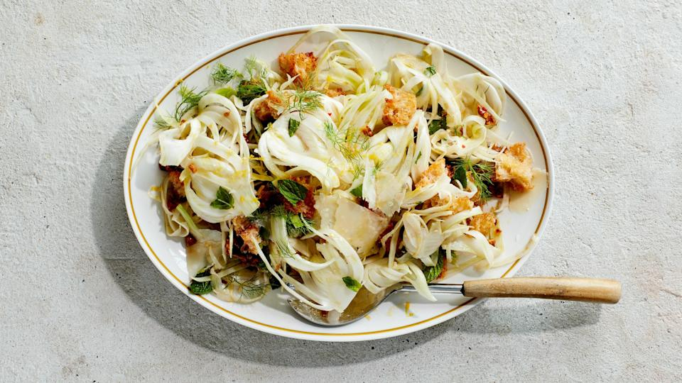 """<a href=""""https://www.bonappetit.com/recipe/shaved-fennel-salad-with-croutons-and-walnuts?mbid=synd_yahoo_rss"""" rel=""""nofollow noopener"""" target=""""_blank"""" data-ylk=""""slk:See recipe."""" class=""""link rapid-noclick-resp"""">See recipe.</a>"""