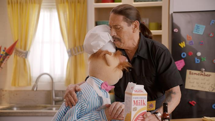 """The Swedish Chef and Danny Trejo share a tender moment on """"Muppets Now."""" <span class=""""copyright"""">(Disney+)</span>"""