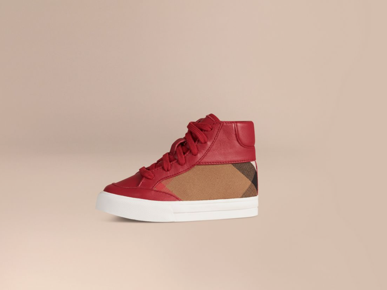 <p>Burberry's Leather and House Check High-Top Trainers, $270. <i>(Photo: Burberry)</i> </p>