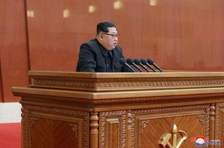 North Korean leader Kim Jong Un speaks during the Third Plenary Meeting of the Seventh Central Committee of the Workers' Party of Korea (WPK), in this photo released by North Korea's Korean Central News Agency (KCNA) in Pyongyang on April 20, 2018. KCNA/via Reuters