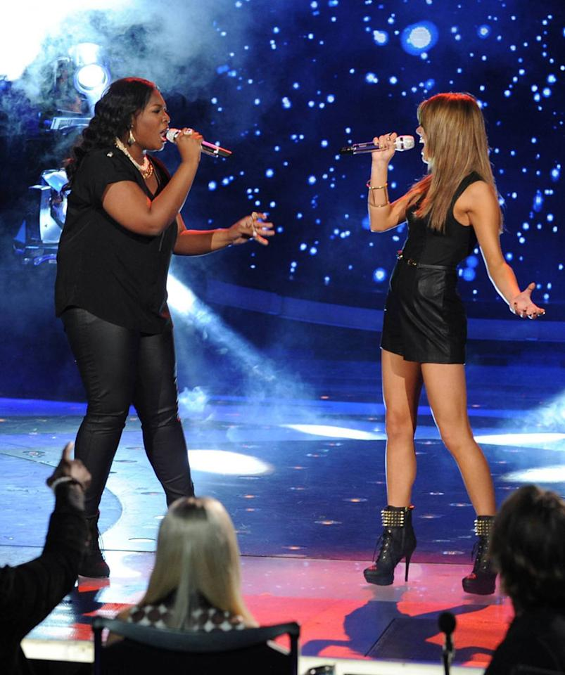 "Candice Glover and Angie Miller perform ""Stay"" on the Wednesday, April 24 episode of ""American Idol."""