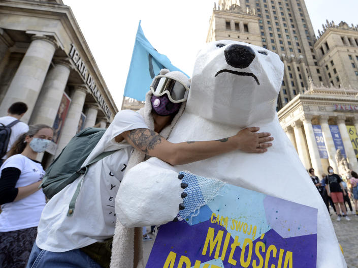 Young people take part in global climate protest in Warsaw, Poland, Friday, Sept. 25, 2020.(AP Photo/Czarek Sokolowski)