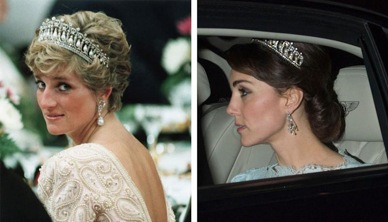 Diana, Princess of Wales, wearing the Lovers Knot tiara in 1990, at left, with Catherine, Duchess of Cambridge, wearing it on Tuesday night, at right.