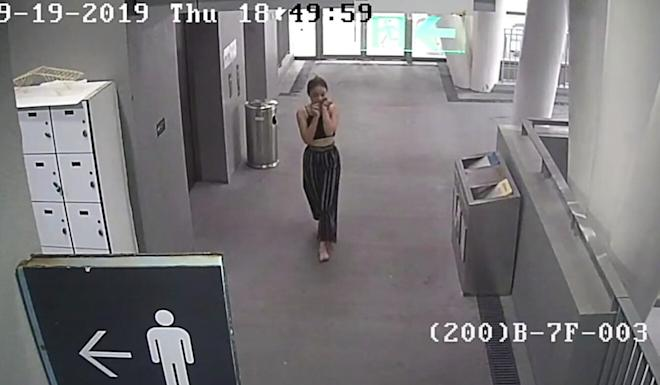 A screen capture of footage from security cameras shows Chan roaming her campus. Photo: Handout
