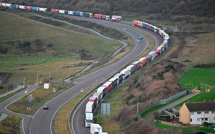 The queues at Dover were seen as a worrying portent of what a no-deal Brexit could have looked like - JUSTIN TALLIS/AFP