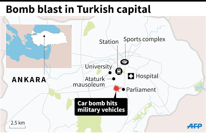 Map of Ankara locating Wednesday's bomb blast. (AFP Photo/Kun TIAN, Jonathan JACOBSEN)