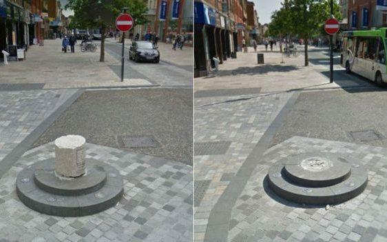 The bollard is known for being knocked down by cars - Google