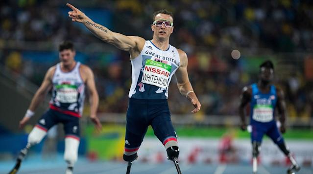 <p>Richard Whitehead of Great Britain sets a new Paralympic Record to win the Gold Medal in the Men's 200m - T42 Final in the Olympic Stadium at the Paralympic Games in Rio de Janeiro, Brazil.</p>