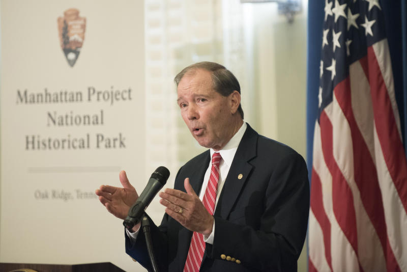 FILE - In this Nov. 10, 2015, file photo, Sen. Tom Udall, D-N.M. speaks at a signing ceremony for a memorandum of agreement to establish the Manhattan Project National Historic Park at the Interior Department in Washington. Udall says he will not seek re-election in 2020 in a move that opens up a secure Democratic seat to competition. He announced the end of his 20-year political career in Washington in a statement on Monday, March 25, 2019. (AP Photo/Sait Serkan Gurbuz, File)
