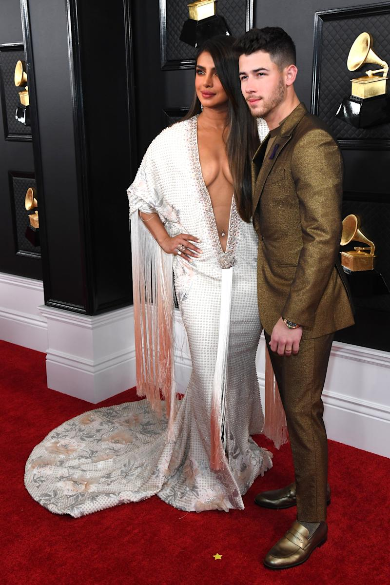 LOS ANGELES, CALIFORNIA - JANUARY 26: Priyanka Chopra Jonas and Nick Jonas attend the 62nd Annual GRAMMY Awards at STAPLES Center on January 26, 2020 in Los Angeles, California. (Photo by Kevin Mazur/Getty Images for The Recording Academy)