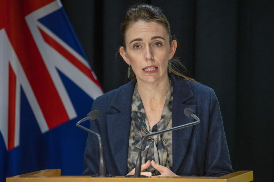 New Zealand Prime Minister Jacinda Ardern addresses a press conference following the Auckland supermarket terror attack at parliament in Wellington, New Zealand, Saturday, Sept. 4, 2021. New Zealand authorities say they shot and killed a violent extremist, Friday, Sept. 3, after he entered a supermarket and stabbed and injured six shoppers. Ardern described Friday's incident as a terror attack. (Mark Mitchell/Pool Photo via AP)