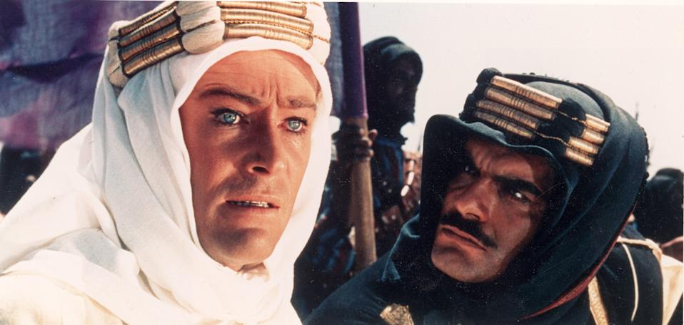 "Peter O'Toole (left, with Omar Sharif) is the title character of the sweeping, Oscar-winning epic ""Lawrence of Arabia."""