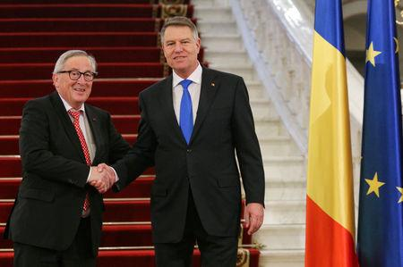 Romanian President Klaus Iohannis welcomes European Commission President Jean-Claude Juncker in Bucharest, Romania, January 11, 2019. Inquam Photos/George Calin via REUTERS