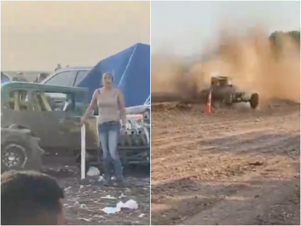 A mud racer veered off the track and crashed into the audience in Fabens in southern Texas.  (fitfamelpaso/Instagram)