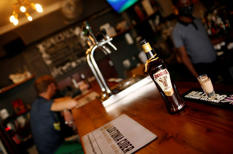 FILE PHOTO: A bottle of Amarula, produced by South Africa's Distell, is seen at a bar in Cape Town