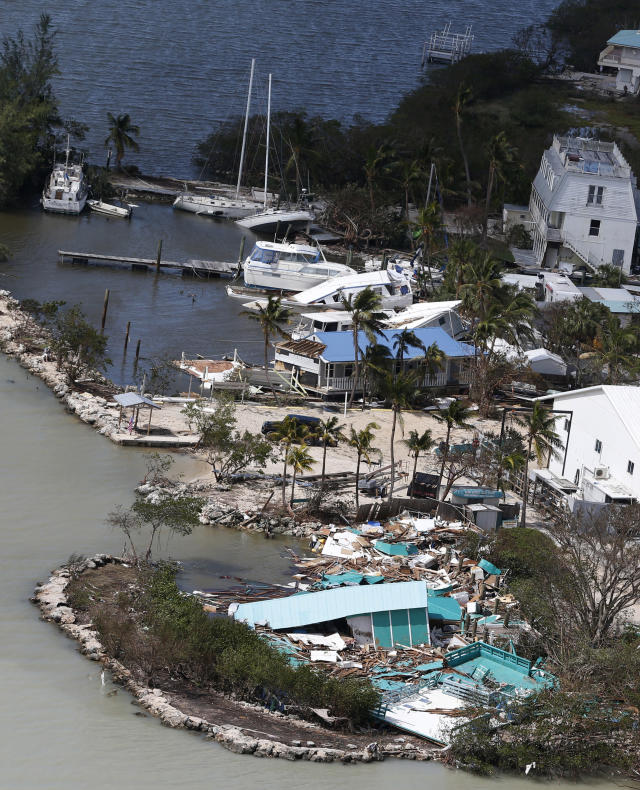 In this Sept. 11, 2017 photo, debris lies from a destroyed building in the aftermath of Hurricane Irma in Key Largo, Fla. (AP Photo/Wilfredo Lee)