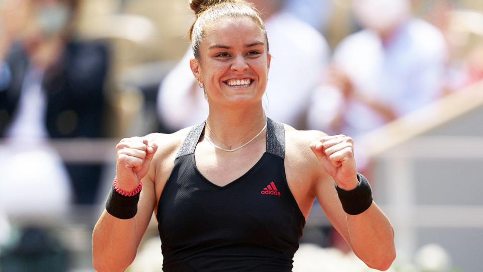 Maria Sakkari, pictured here after her victory over Iga Swiatek at the French Open.