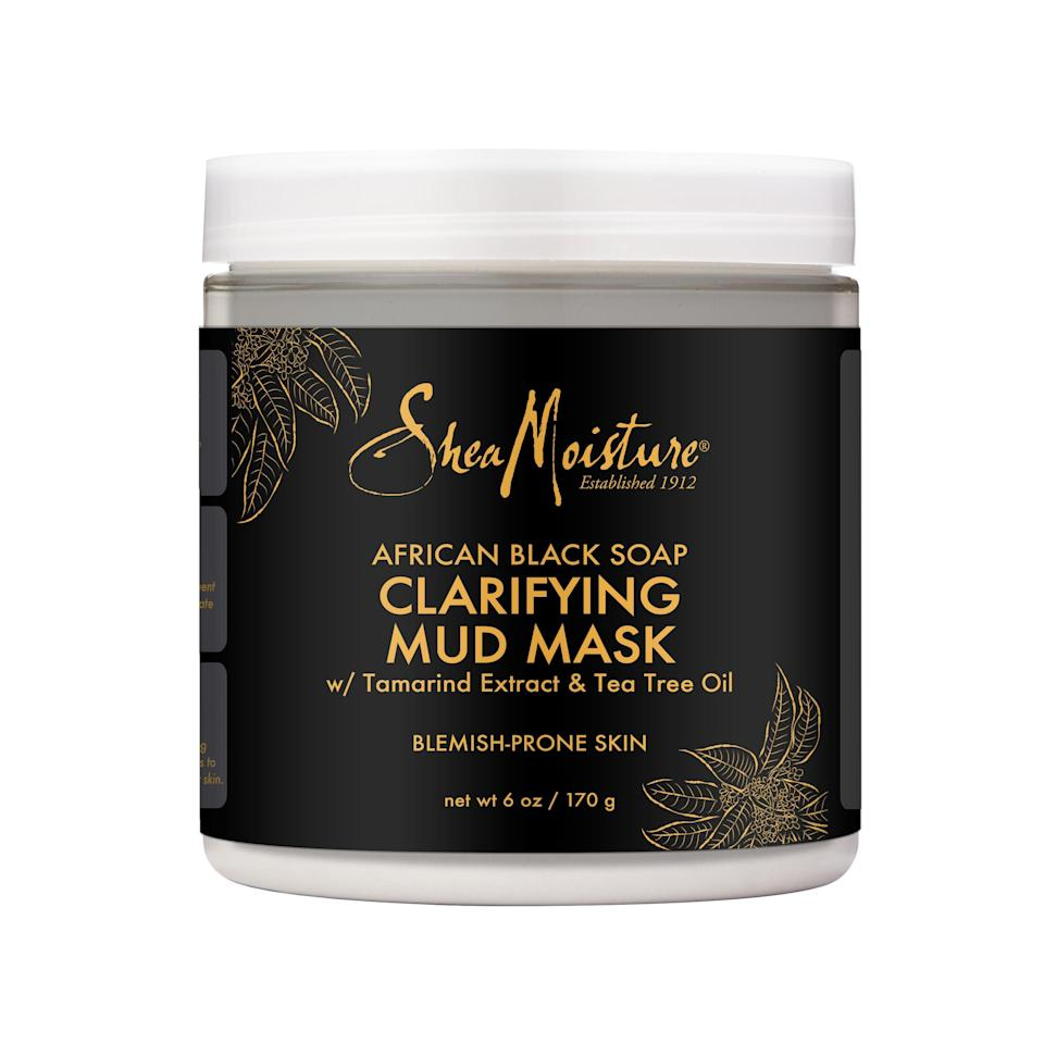 """<p><strong>SheaMoisture</strong></p><p>walmart.com</p><p><strong>$14.97</strong></p><p><a href=""""https://go.redirectingat.com?id=74968X1596630&url=https%3A%2F%2Fwww.walmart.com%2Fip%2F195268900&sref=https%3A%2F%2Fwww.marieclaire.com%2Fbeauty%2Fg26596733%2Fbest-drugstore-face-masks%2F"""" rel=""""nofollow noopener"""" target=""""_blank"""" data-ylk=""""slk:SHOP IT"""" class=""""link rapid-noclick-resp"""">SHOP IT</a></p><p>If your nose is speckled with unwanted black dots, click 'add to cart.' African black soap, a clarifying wonder ingredient, will excavate even the most clogged pores. </p>"""
