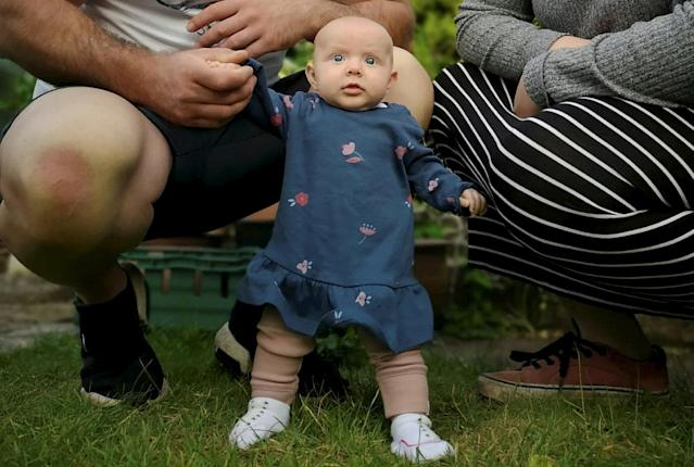 Little Lula learnt to stand at just eight weeks old. (SWNS)