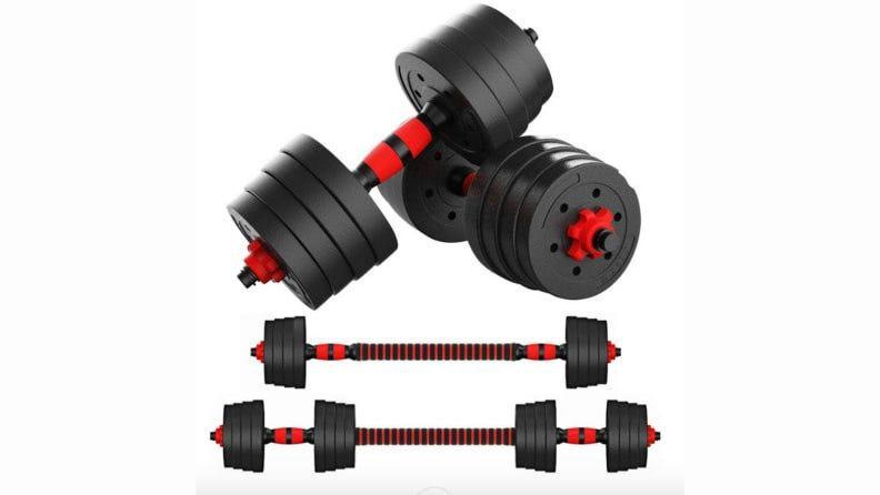 Adjustable dumbells are a worthwhile investment.