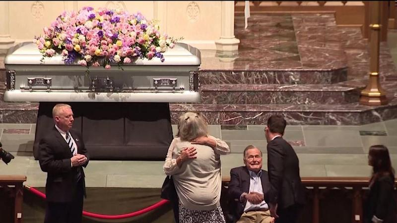 Former President George H.W. Bush Greets Mourners of Wife Barbara