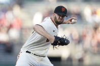 San Francisco Giants' Alex Wood pitches against the St. Louis Cardinals during the first inning of a baseball game in San Francisco, Wednesday, July 7, 2021. (AP Photo/Jeff Chiu)