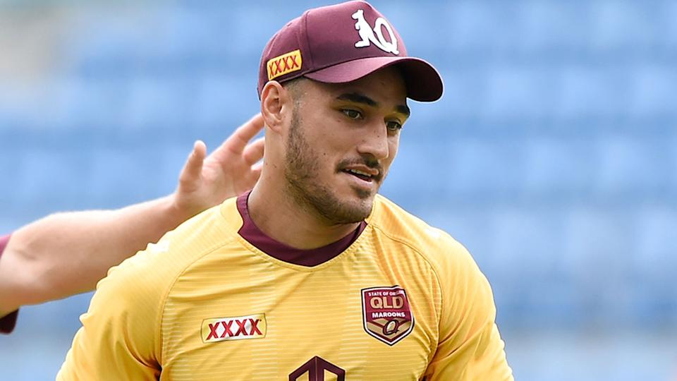 Valentine Holmes is seen here at Queensland Origin training.
