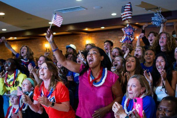 PHOTO: People celebrate during a watch party Tuesday, Aug. 3, 2021, in Mountainside, N.J., the gold medal of Sydney McLaughlin in the women's 400-meter hurdles at the 2020 Tokyo Olympics. (Eduardo Munoz Alvarez/AP Photo)