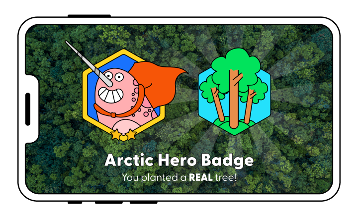 Players can earn badges which allow them to plant a real-life tree (Earth Cubs)