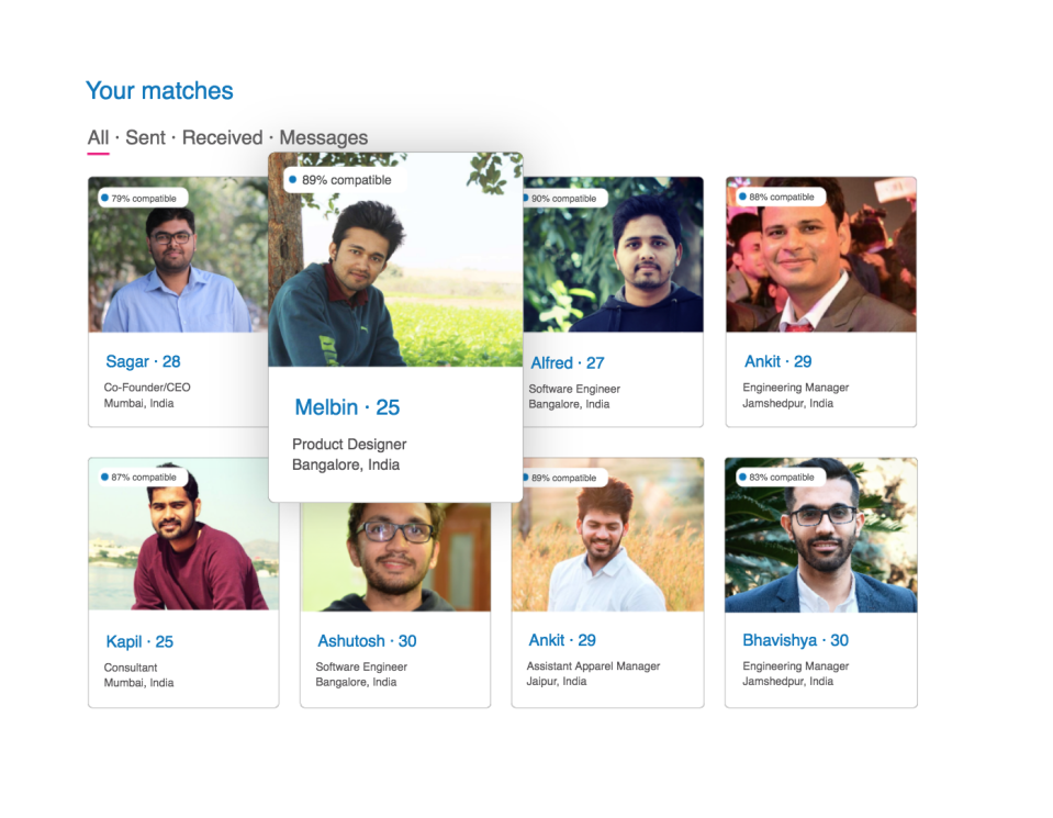 Examples of profiles on Betterhalf.ai