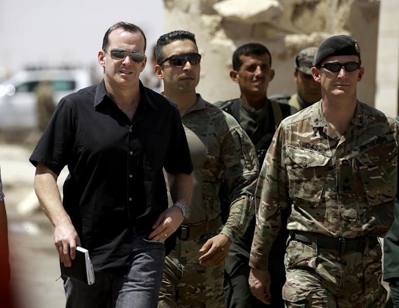 Brett McGurk (L) arrives for a meeting with the Raqa Civil Council in the northern Syrian village of Ain Issa (AFP Photo/Delil souleiman)