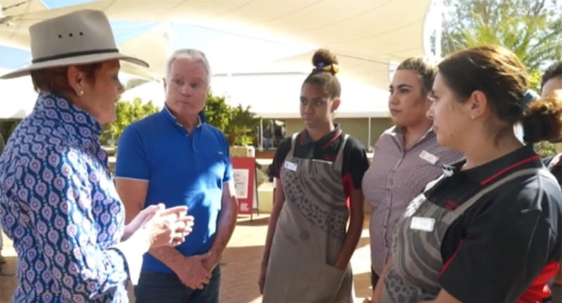 A group of young indigenous women told Pauline Hanson climbing the rock was disrespectful to their culture. Source: A Current Affair